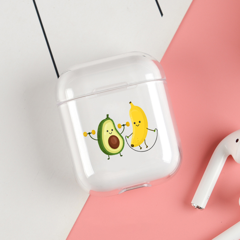 Cute Cartoon Headphone Case For Apple airpods Case Luxury Avocado Lovely Air Pods Case For Airpods 2 Transparent Soft Cover in Earphone Accessories from Consumer Electronics