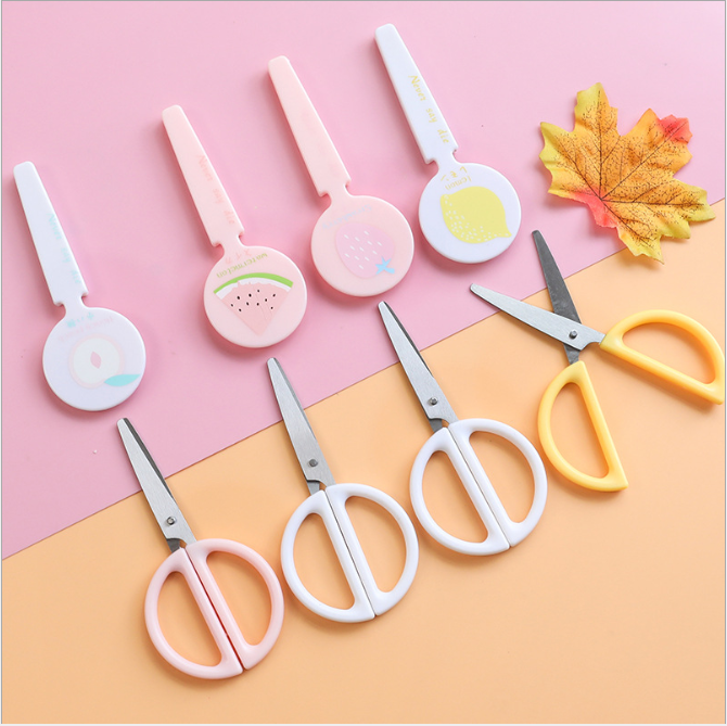 Cartoon Scissor Children Hand Protective Sleeve Lollipop Molding Student Scissors Cutting Tools Stationery Student Manual Cute
