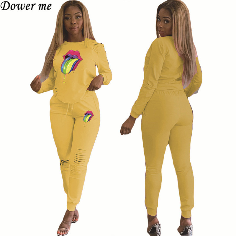 Dower Me 2019 Casual Full Sleeve O-Neck Cartoon Two Piece Set Tops Elastic Waist Hole Pant Two Piece Outfits NZ102