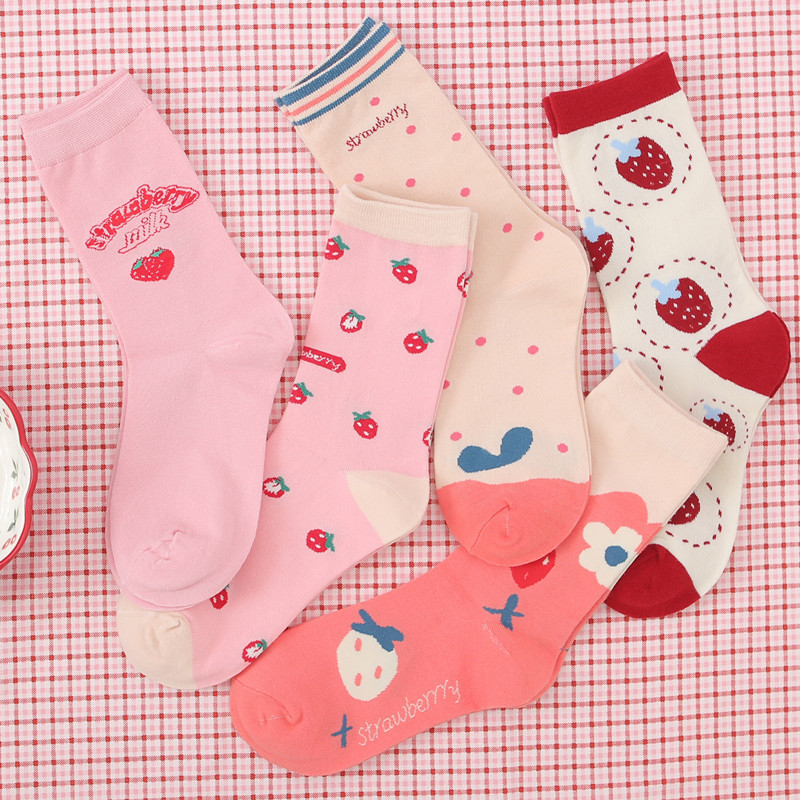Autumn And Winter New Tide Socks Strawberry Tube Cotton Socks Harajuku College Style Leisure Small Fresh Socks Female