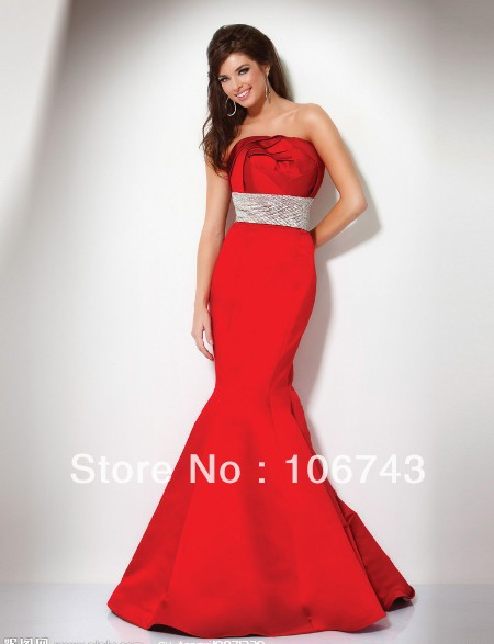 Free Shipping 2016 New Design Vestidos Formal Robe De Soiree Elegant Sexy Long Mermaid Red Girl Party Gown Prom Evening Dress