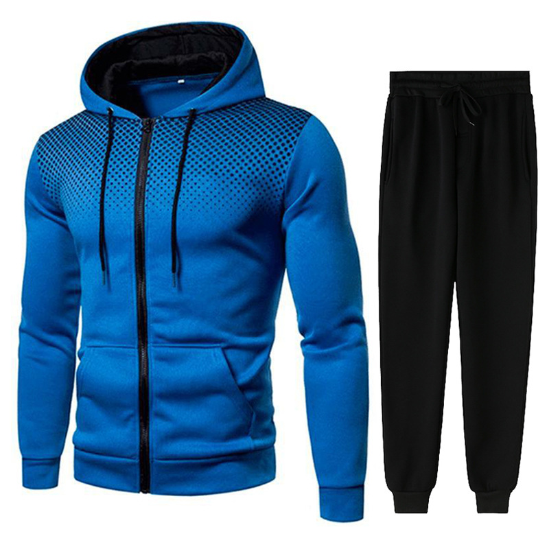 Men Gradient Zip Cardigan Suit Tracksuits Spring Autumn Hoodie Jogging Trousers Fitness Casual Clothing Sportswear Set Plus Size 5
