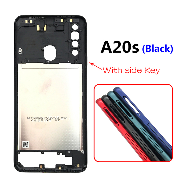 10PCS Middle Frame Plate Cover With Power Volume Side Button For Samsung Galaxy A20S A30S A50S A30 A70