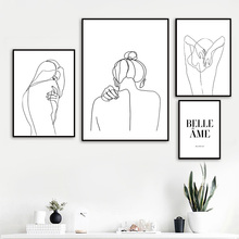 Wall Art Canvas Painting Black White Sexy Line Woman Nordic Posters And Prints Abstract Pictures For Living Room Home Decor