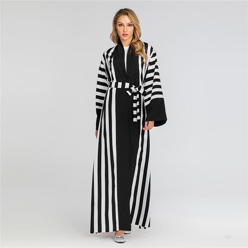 Plus Size Striped Abaya Kimono Dubai Muslim Cardigan Hijab Dress Abayas For Women Kaftan Oman Caftan Turkish Islamic Clothing