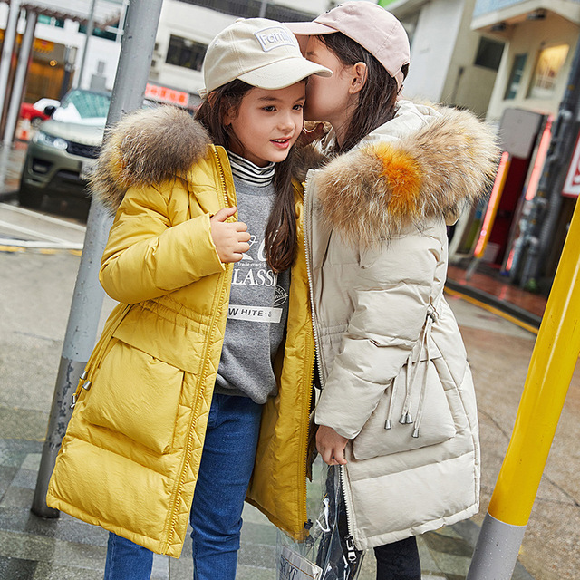 Thick Warm Down Hooded Long Jacket For Girls