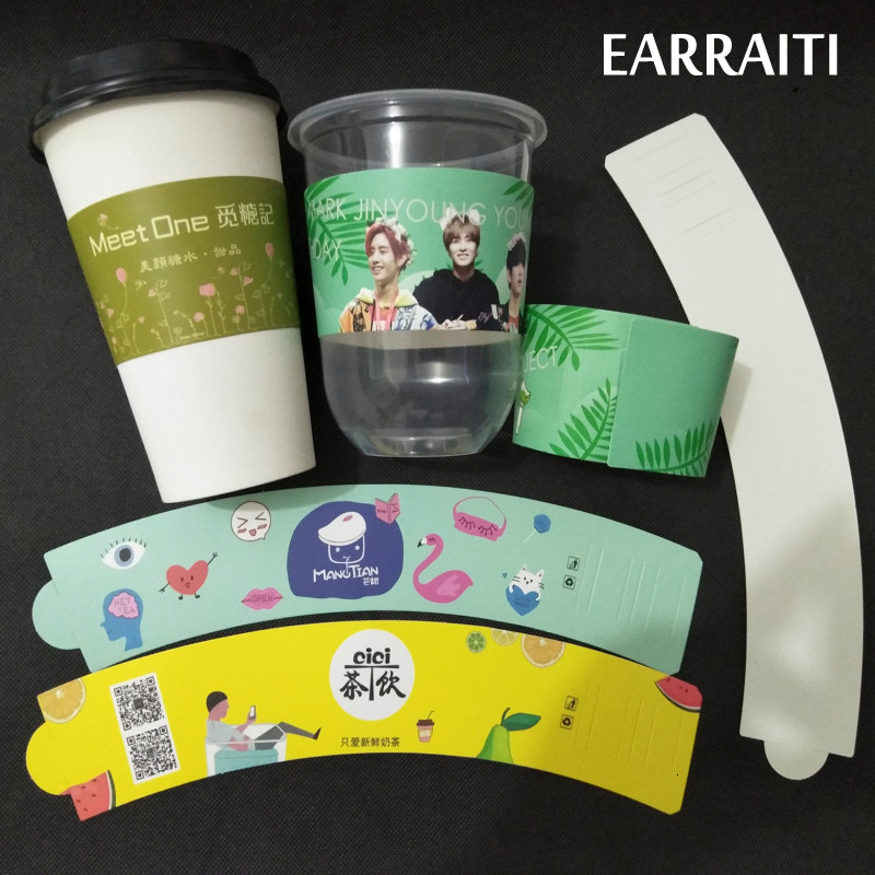 Custom Coffee Cup Sleeve For Milk Tea Juice Cup White Cardboard Cup Sleeves Idol Logo Customzed Disposable Cup Sleeve Wedding