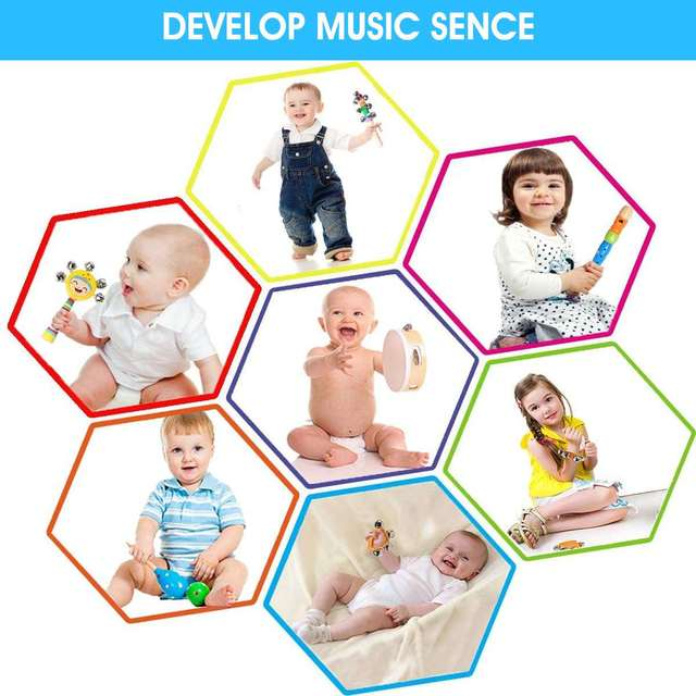 27pcs Baby Toy Music Instrument Toys Wooden Percussion Xylophone Maraca Rattles Kids Preschool Education Toys With Storage Bag 2
