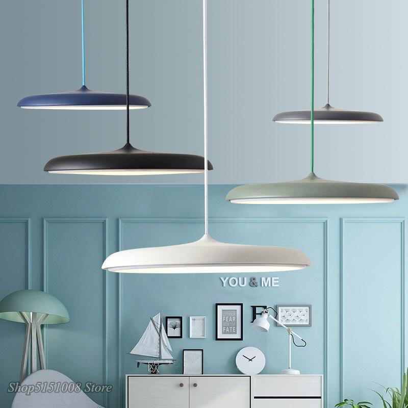 UFO Metal Led Pendant Lights Modern Art Design Suspension Round Plate Hanging Lamp Nordic Kitchen Living Room Home Decoration