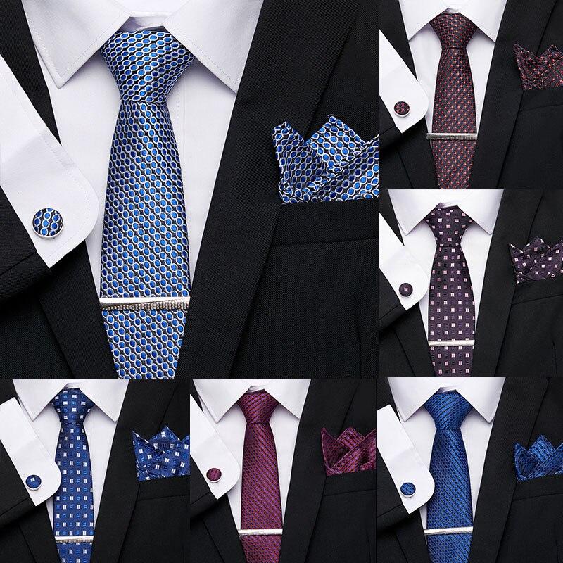 Fashion Men's Necktie 7.5cm 100%Silk Handkerchief Tie Clip Cuffink Tie Set Classic Ties Formal Dress Accessories Wedding Party