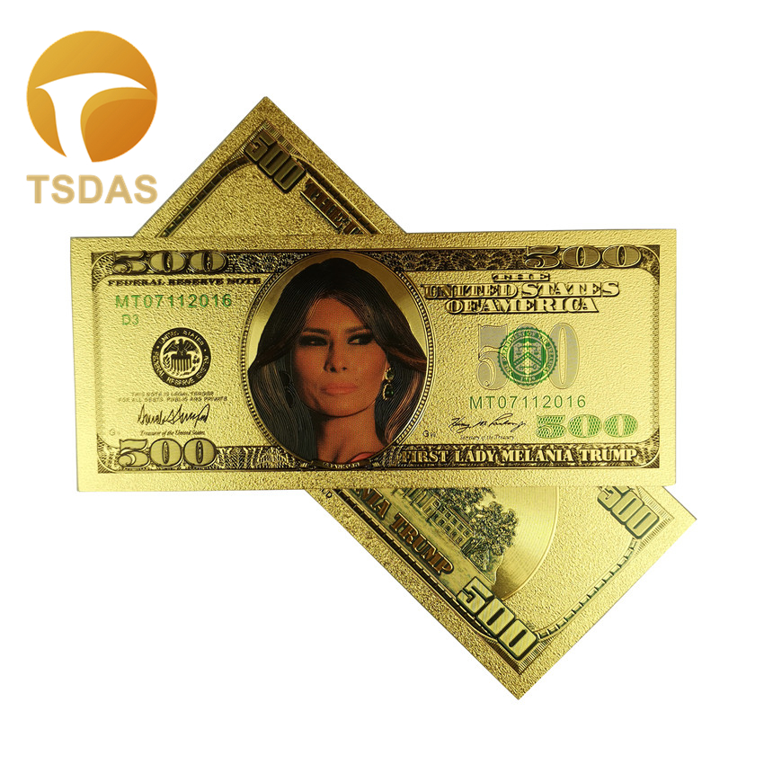 2 Donald /& Melania Trump 24K Gold Plated Dollars Bill Bookmark Novelty Banknote