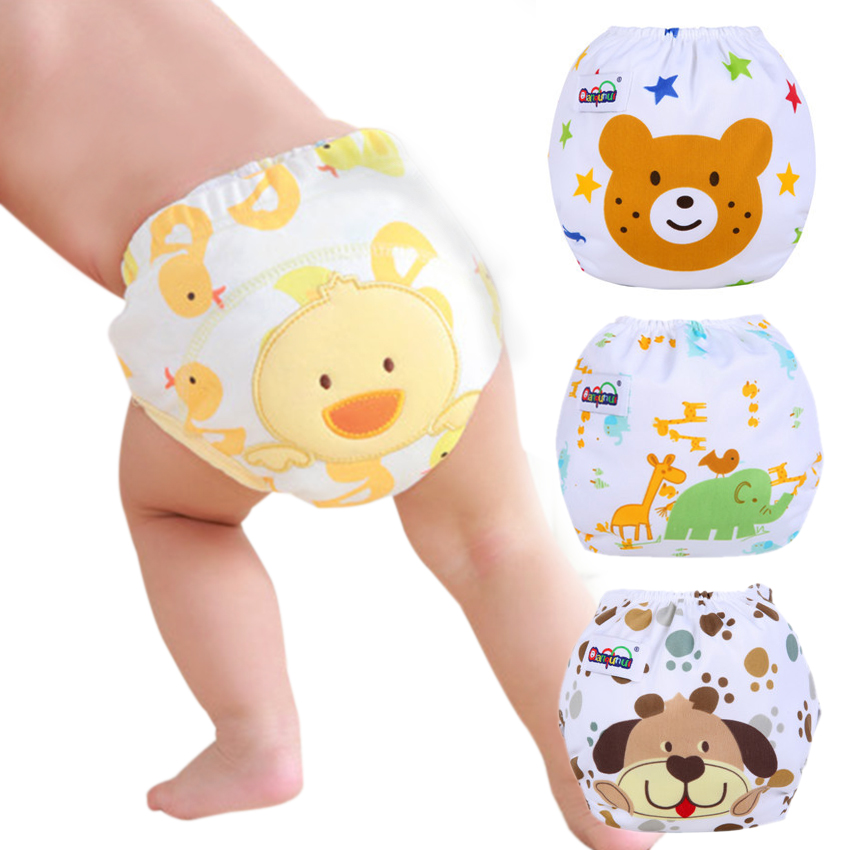 Baby Diaper Pants Boy And Girl Reusable Cloth Diaper Nappies Adjustable Washable Infants Children Underwear Nappy Cartoon 3-15kg