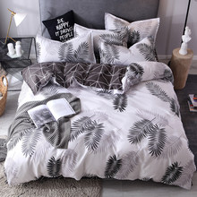 3/4pcs/set Nordic Style Bedding Set Leaves Pattern Duvet Cover Set Flat Sheet Pillowcase Bedclothes Bed Linen Set Euro For Adult(China)