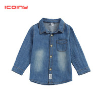 Denim Shirts for Boy 2018 Casual Long Sleeved Girls Blouse Children Clothes Autumn Cotton Cowboy Coat Toddler Shirt Kid Cloth