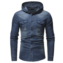 2019 autumn and winter new mens fashion wash casual denim shirt slim long-sleeved large size hooded S-XXXL