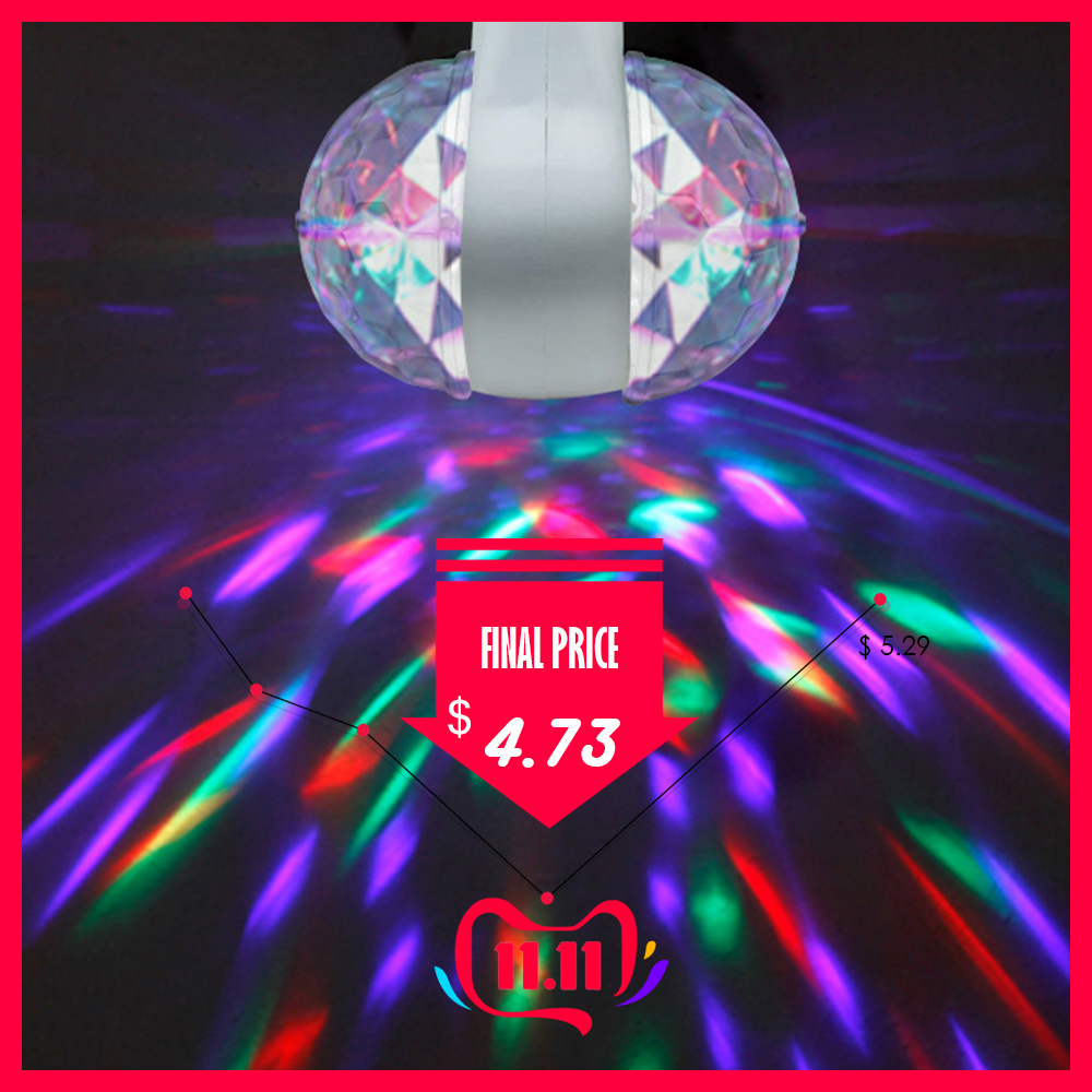 6W Rotating Bulb Light Stage Disco Light Double-headed RGB Rotating Stage Light Lamp Party Magic Ball Luces Escenario D40
