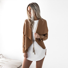 Fall Sheath Turn Down Collar Woolen Cloth Fashion Solid Winter Jackets Cashmere Casual Sequine Long Sleeves Cardigan Open Stitch