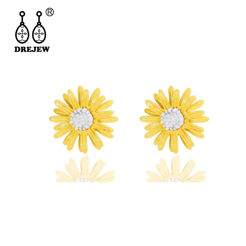 DREJEW Cute Small White Yellow Sun Flower Statement Earrings 2019 925 Crystal Stud Sets for Women Wedding Jewelry HE384