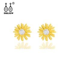 DREJEW Cute Small White Yellow Sun Flower Statement Earrings 2019 925 Crystal Stud Earrings Sets for Women Wedding Jewelry HE384 цена и фото