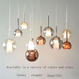 Image 2 - Nordic garrafa de vidro colorido led luzes pingente designer pendurado lâmpada sala estar barra villa luminária casa deco cozinha luminárias