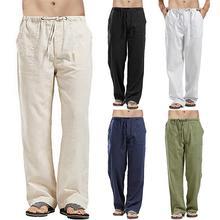 Мужчины повседневная однотонная цвет длинные брюки шнурок карманы прямые свободные брюки
