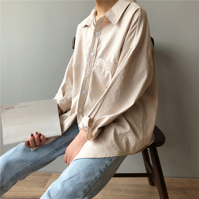BGTEEVER Minimalist Loose White Shirts for Women Turn-down Collar Solid Female Shirts Tops 2020 Spring Summer Blouses 2