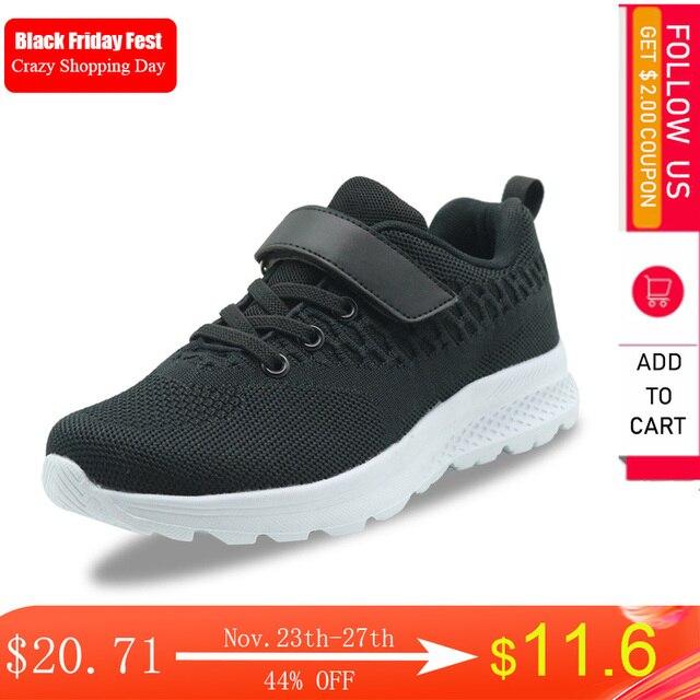 Apakowa meninos grandes rendas até tênis de corrida crianças pequenas gancho e laço confortável malha respirável tênis esportes ginásio jogging andando sapatos