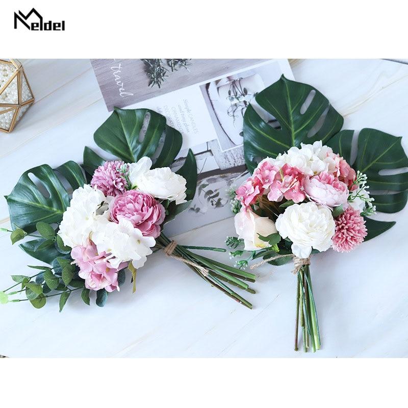Meldel Bridal Wedding Bouquet Artificial Silk Rose Flower Pink Hydrangea Pompom Tropical Eucalyptus Palm Leaves Wedding Supplies