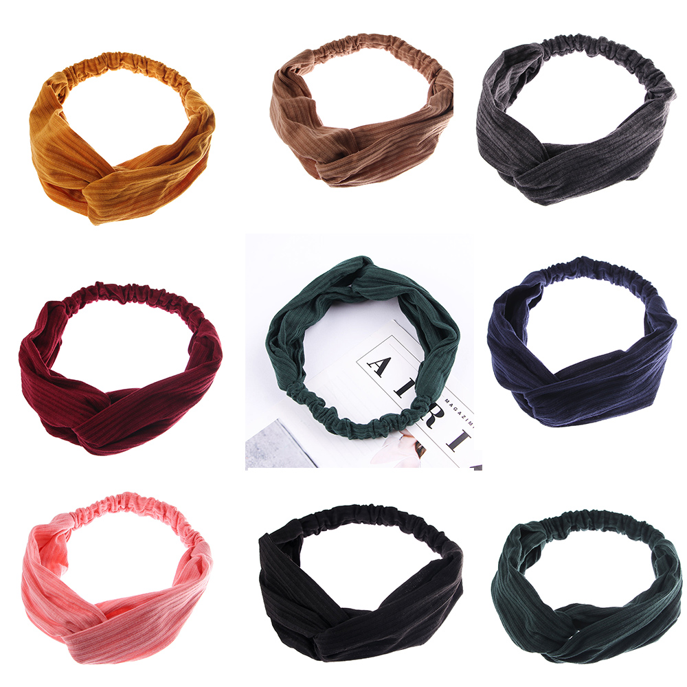 2020 New Women Solid Headband Turban Elastic Headwear Head Wrap Women Hair Accessories For Women Striped Hair Bands