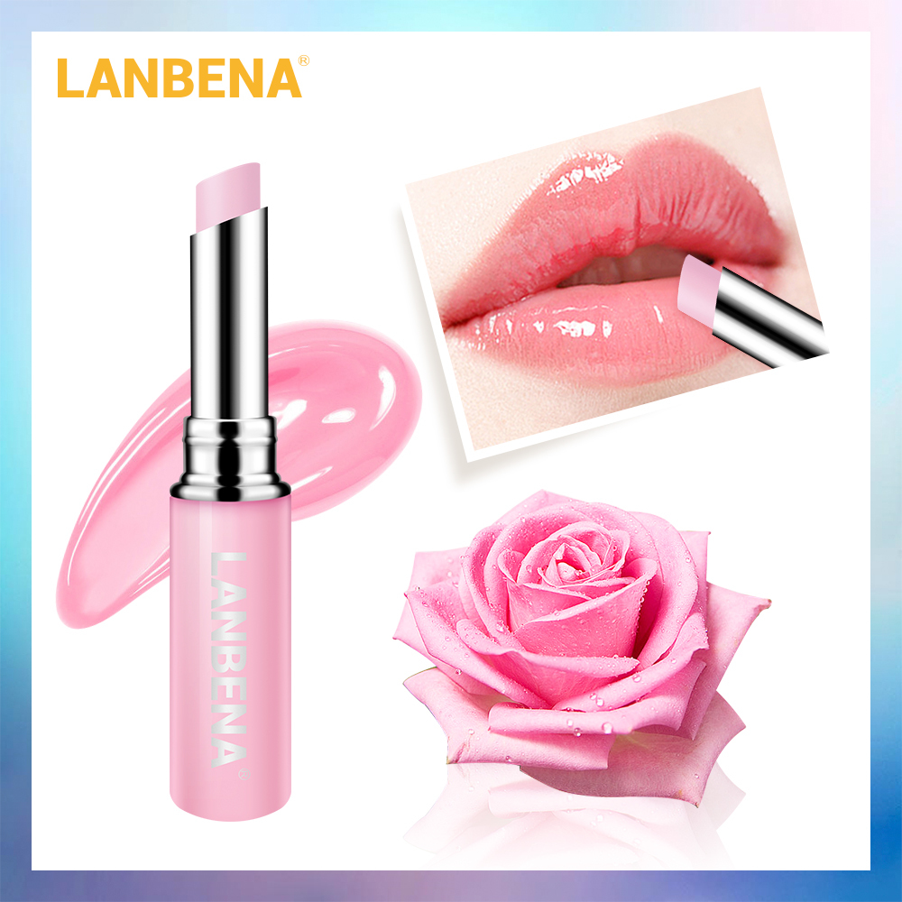 LANBENA Rose Lip Balm Natural Extract Lipstick Fade Lines Nourishing Moisture Lips Care Relieve Dryness Long Lasting Lip Product