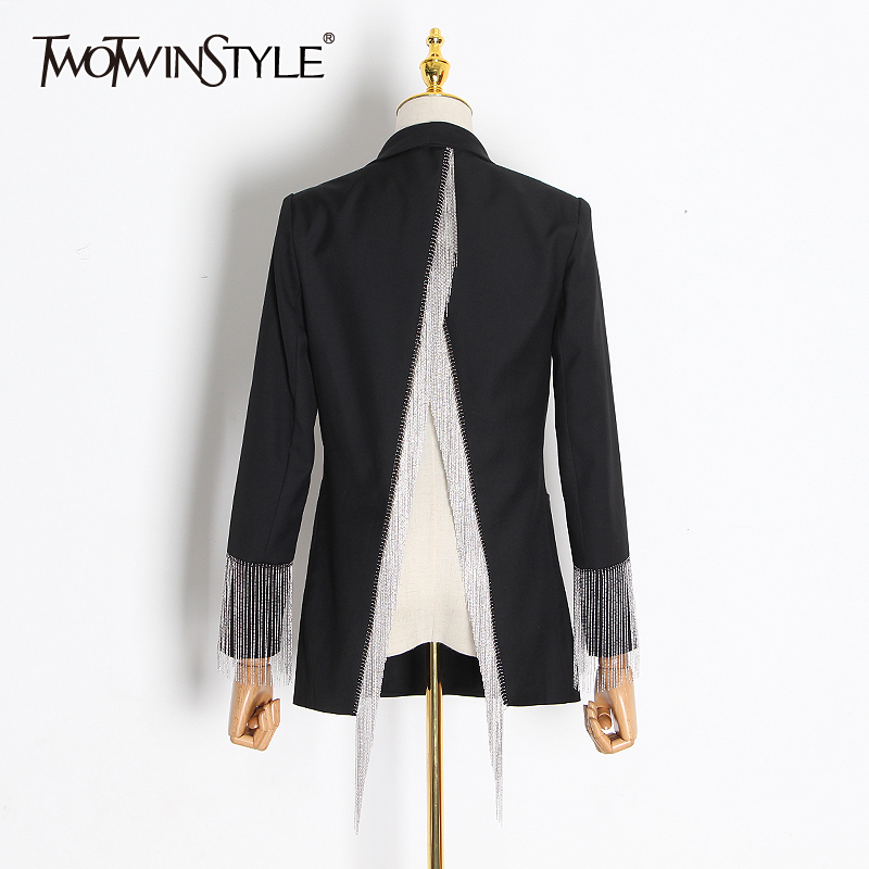 TWOTWINSTYLE Patchwork Tassel Blazer Female Notched Long Sleeve Tunic Backless Irregular Suits Women 2019 Spring Fashion Clothes