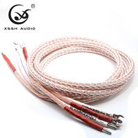 1 pair XSSH audio Hi end DIY HIFI Silver Plated Y shape spade to banana plugs 12TC 24 core speaker cable Cord Wire