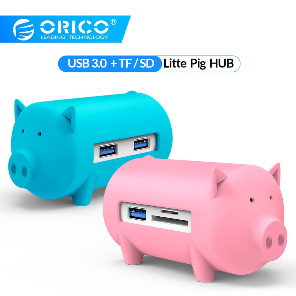 ORICO USB3.0 HUB Litte Pig Multi 3 Ports With TF SD Card Reader Adapter For MacBook Air Laptop PC USB 3.0 OTG Splitter