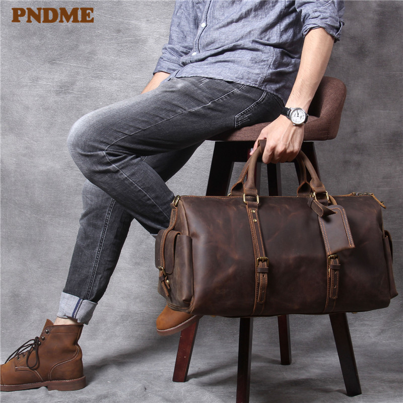 PNDME Vintage Crazy Horse Cowhide Men's Travel Bag Handbag High Quality Genuine Leather Large Capacity Luggage Bag Duffel Bag