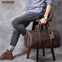 PNDME vintage crazy horse cowhide men's travel bag handbag high quality genuine leather large capacity luggage bag duffel bag