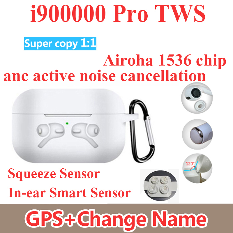 I900000 Max TWS 1: 1 Enhanced ANC Active Noise Cancellation Bluetooth Earphone Pressure Sensor PK I200000 I100000 I500000 TWS