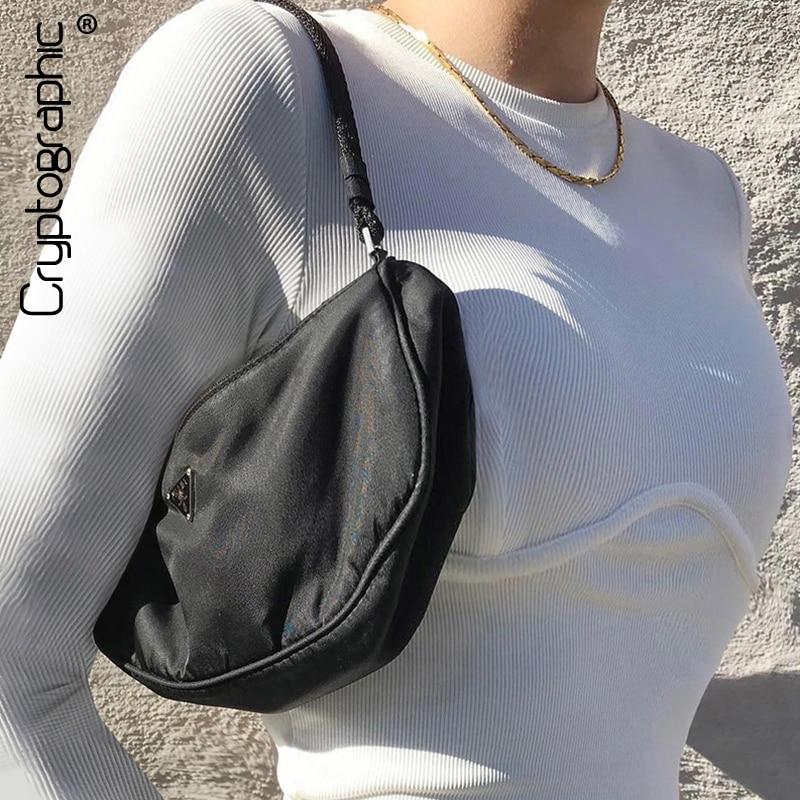 Şifreleme rahat uzun kollu tişörtler yuvarlak boyun ince Bodycon kırpılmış üstleri moda kadın temel beyaz tişört Streetwear sonbahar