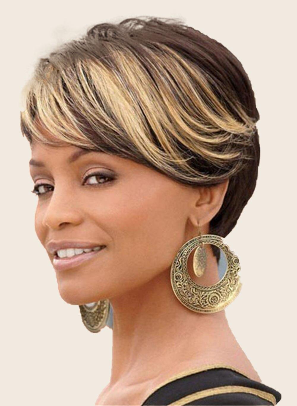 Lateral Para As Mulheres Negras Marrom Misturado Preto Festa Cosplay peruca