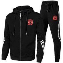Весенне-осенние мужские повседневные полосатые комплекты для бега из двух предметов спортивная одежда брендовый мужской спортивный костю...