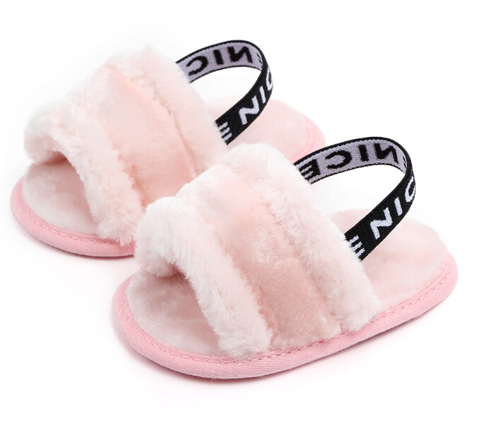 Newborn Kids Faux Fur Baby Shoes Autumn Spring Boys Girls Shoes Soft Sole Indoor Shoes 0-18M
