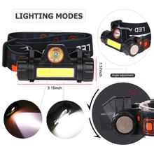 Outdoor camping Portable mini XPE+COB LED Headlamp USB charging Fishing headlights flashlight portable zooming xml t6 led headlamp waterproof zoom fishing headlights camping hiking flashlight with usb cable