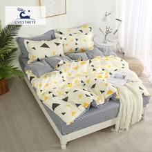 Liv-Esthete Geometry Bedding Set Decorative Home Textiles Bedspread Bed Flat Sheet Luxury Linen Double Adult Duvet Cover