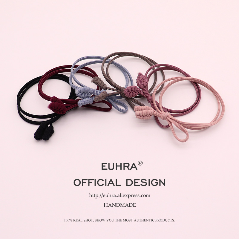 EUHRA 6 Colors Classic Handmade Wheat Ears Elastic Hair Bands High Quality For Women Girls Hair Band Kid Children Rubber Band Hair Accessories