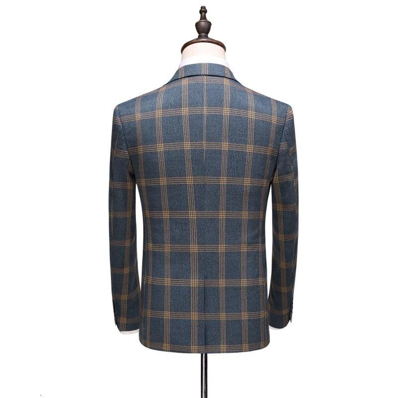 Brand Men Casual Business Blazer Set Fashion Plaid Slim Fit Single Button Suit Jacket Vest Pants Three Piece Set Wedding Blazer