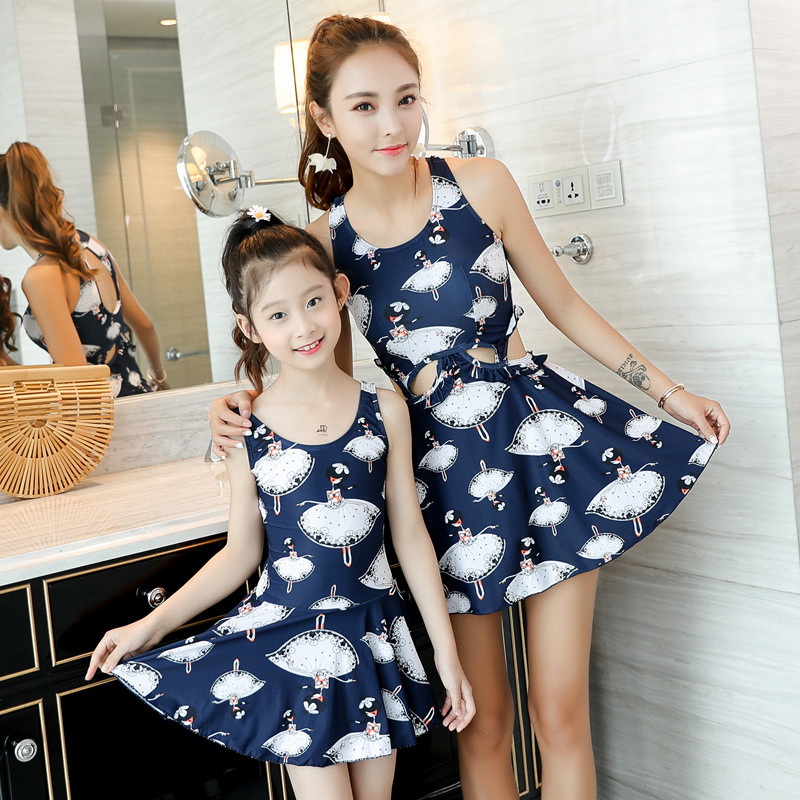 2020 Parent And Child Bathing Suit Mother & Daughter Tour Bathing Suit Girls Big Boy Skirt One-piece Small Bust Slimming Conserv
