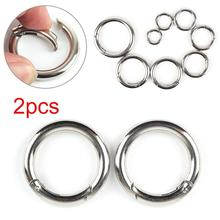 цена на 2Pcs Ring Camping Spring Hook 18-44mm Spring Round Keychain Outdoor Travel Climbing Camping Snap Key Carabiner