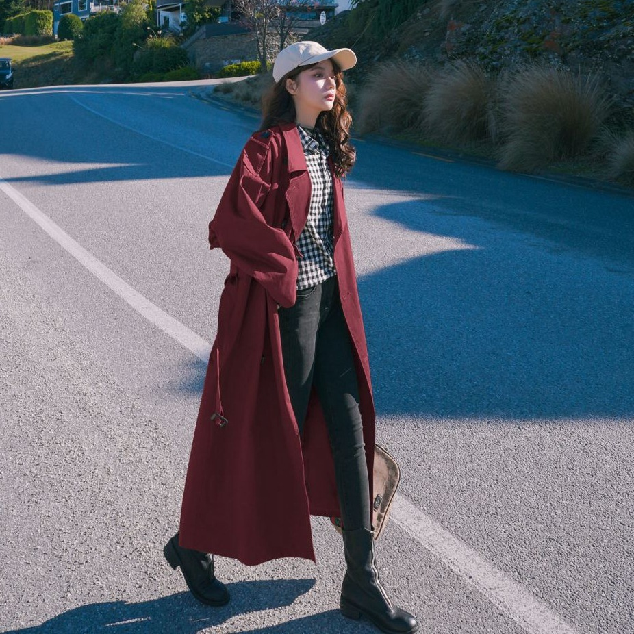 Chic-Long-Trench-Coat-Women-2020-Spring-Wine-Red-Windbreaker-Loose-Coats-Double-breasted-Sashes-Trenchs-Female Dust-Coat
