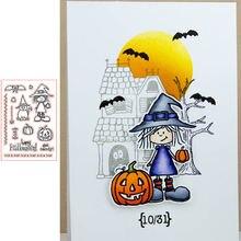 Печатные узоры на Хэллоуин прозрачные силиконовые штампы/печать