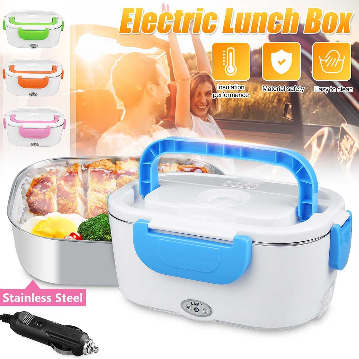 Portable Electric 12V Heated Stainless Lunch Box Bento Boxes  Car Food Rice Container Warmer For School Office Home Dinnerware