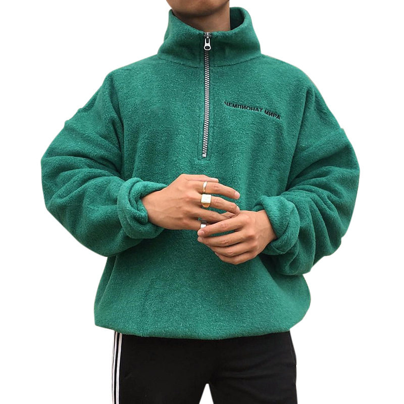 2020 Men Top Wool Sweater Mandarin Collar Casual Pullover Cotton Long Sleeve Clothing Solid Coat Dropshopping